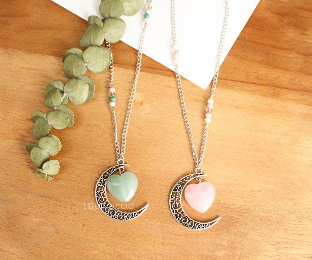 Collar Corazón Espacio - Cuarzo Rosa - Verde