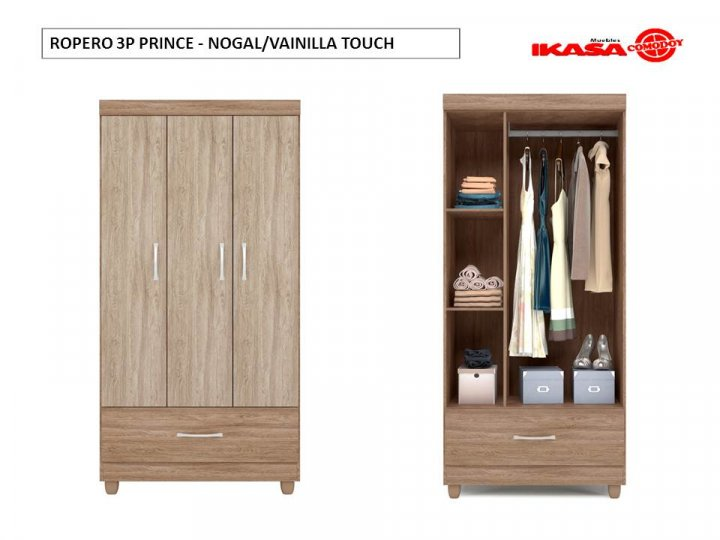 ROPERO 3P PRINCE - NOGAL/VAINILLA TOUCH