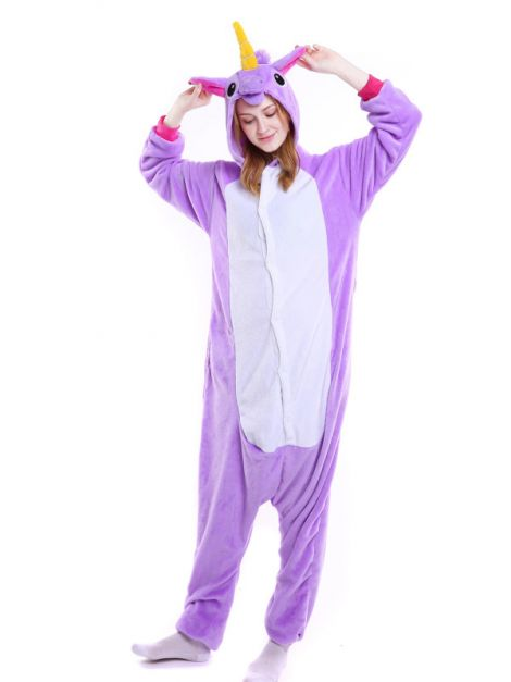 Pijama plush de unicornio morado Unisex