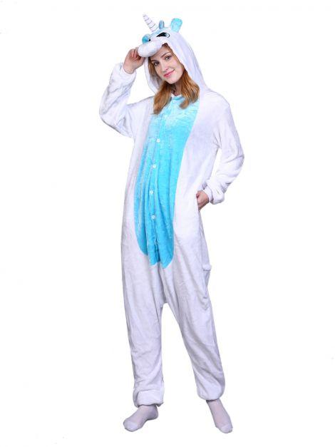 Pijama Plush Unicornio Blanco con alitas celeste Unisex