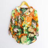 Blusa cuello bebe estampado de flores tropicales (#33THRIFTSHOP)
