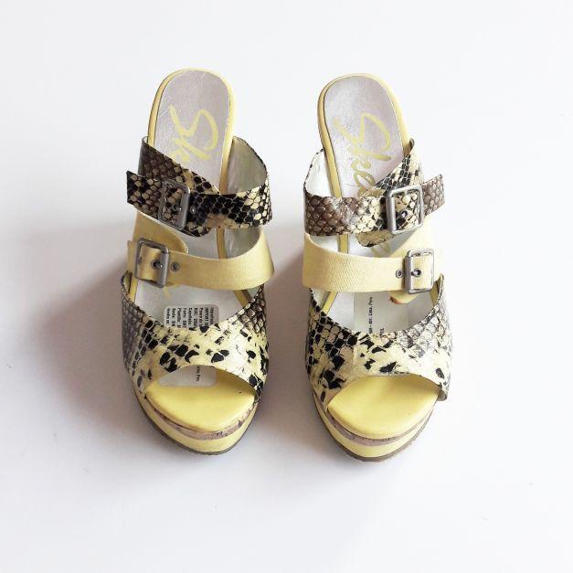 Sandalias de plataforma amarillo con animal print  (#33THRIFTSHOP)
