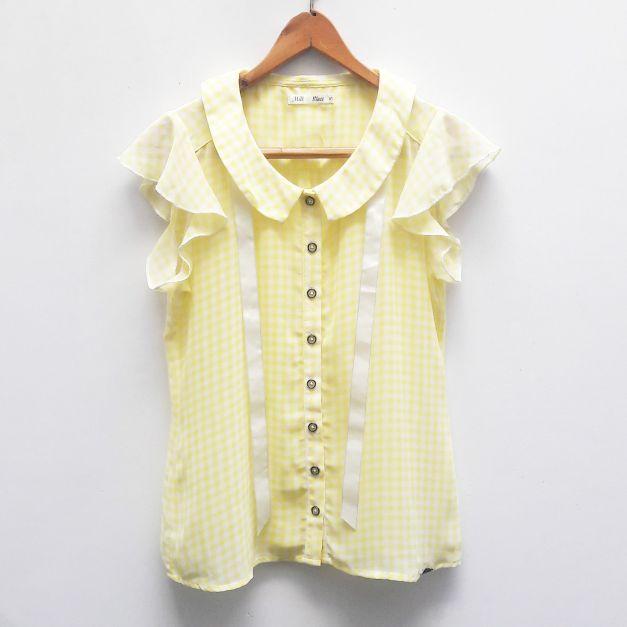 Blusa de gasa, de cuadraditos blanco con amarillo  (#33THRIFTSHOP)