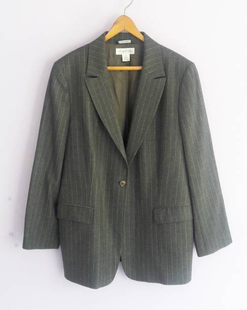 Saco de lana con rayas marrones (#33THRIFTSHOP)