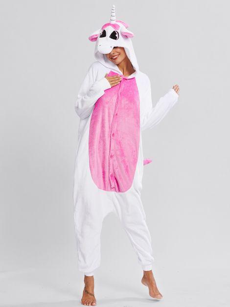Pijama de unicornio Unisex blanca con alitas