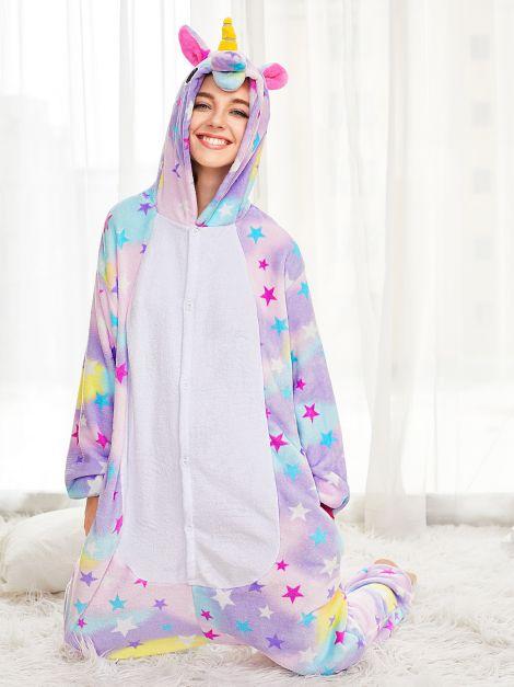 Pijama de Unicornio Plush Con Estrellas Unisex