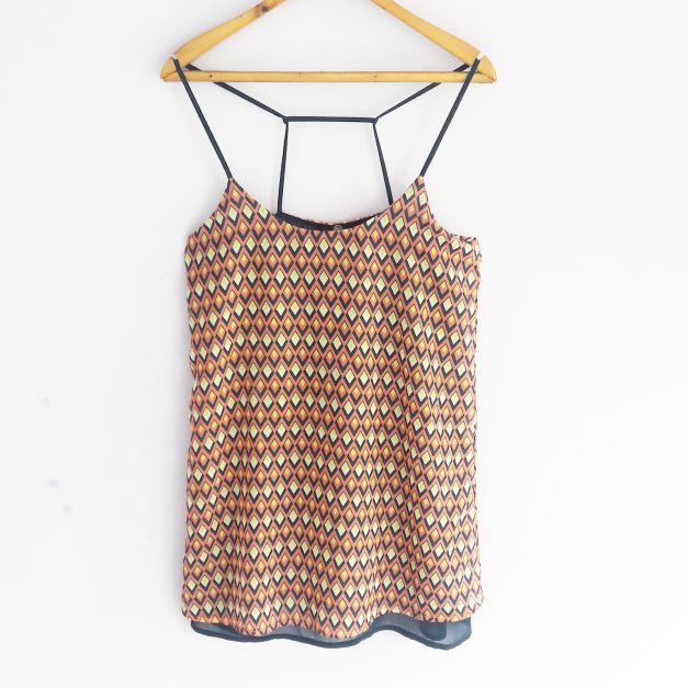 Vestido de tiras con forro, estampado geométrico  (#33THRIFTSHOP)