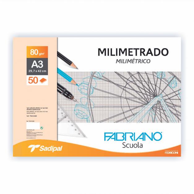 MILIMETRADO BLOC ENCOLADO 1 LADO A3 50 HJS.