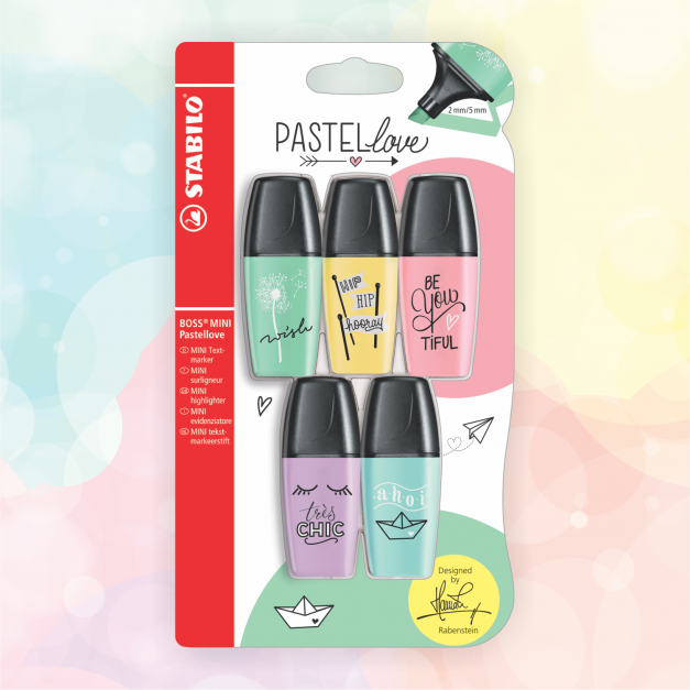 RESALTADORES BOSS MINI PASTEL LOVE x 5 und.