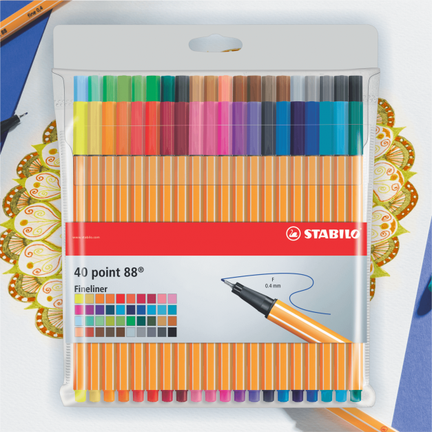 FINE PEN POINT 88 PASTELES ESTUCHE X 40