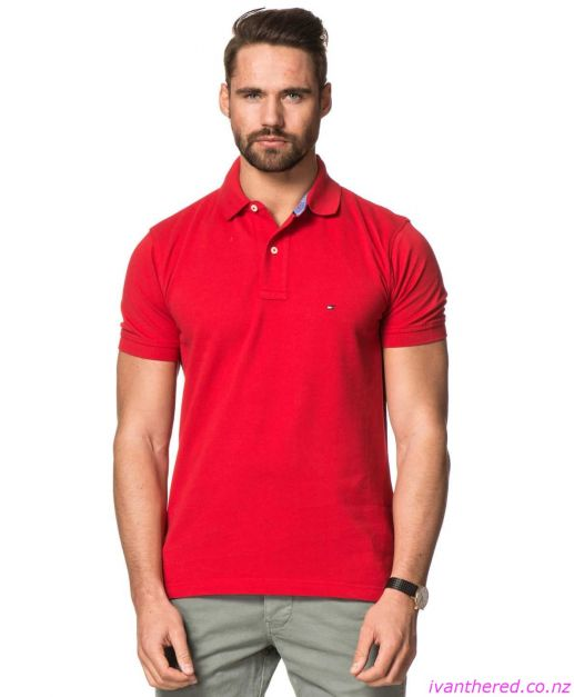 NEW POLO TOMMY HILFIGER SOLID REGULAR FIT MARS RED