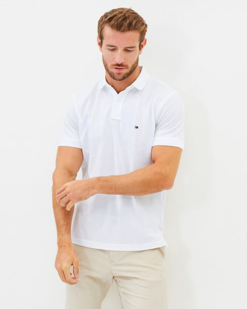 NEW POLO TOMMY HILFIGER SOLID REGULAR FIT  WHITE