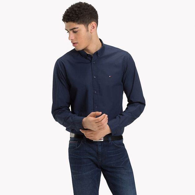 CAMISA REGULAR FIT TOMMY HILFIGER PAPER TOUCH B IRIS