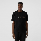 CAMISETA BURBERRY EMBROIDERED CHECK LOGO BLACK