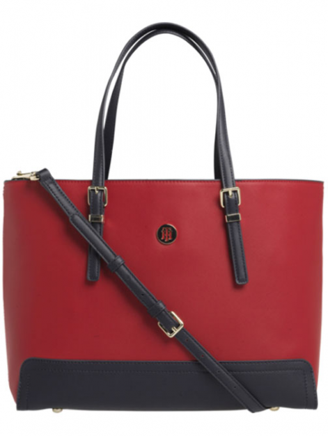 CARTERA TOTE MEDIANA CON MONOGRAMA TOMMY RED - TOMMY NAVY