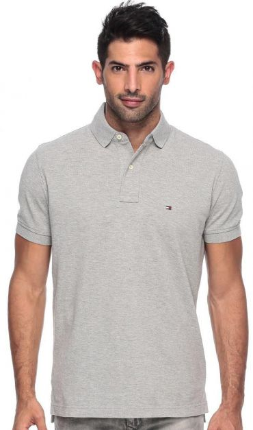 NEW POLO TOMMY HILFIGER SOLID REGULAR FIT  GRAY