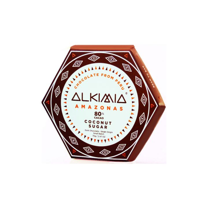 CHOCOLATE ALKIMIA AMAZONAS 80% CON AZÚCAR DE COCO