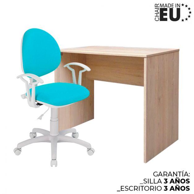 1 Escritorio Melamine 90x50x75 Rovere + 1 Silla Smart Lux Micro Celeste
