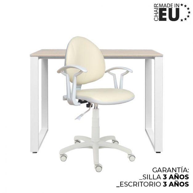 1 Escritorio Oh 90x50x74 Rovere B/Blanco + 1 Silla Smart Lux cuerina beige