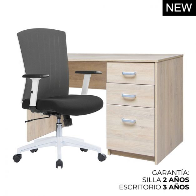 1 Escritorio Mel Cajonera Pedestal 120x60x75 + 1 Silla Work Lux
