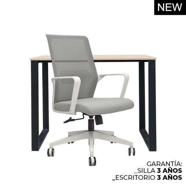 1 Escritorio Oh 120x60x74 Rovere B/Negro  + 1 Silla Girona
