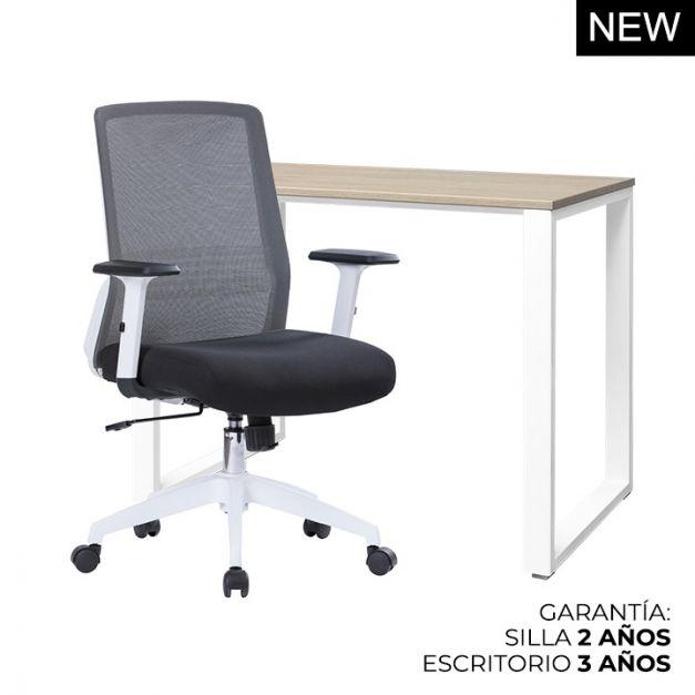 1 Escritorio Oh 90x50x75 B/Blanco + 1 Silla Lutton Lux