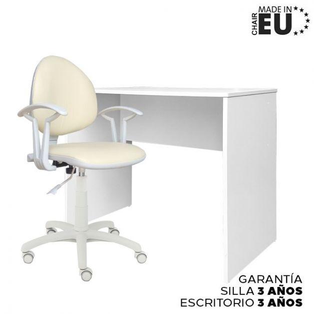 1 Escritorio Melamine 90x50x75 Blanco + 1 Silla Smart Lux Cuerina Beige