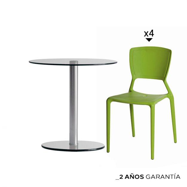 Combo! 1 Mesa Simplex DA90 1LO + 4 Sillas Angelina Verde