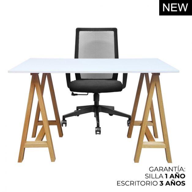 1 Escritorio Arti 120x60 + 1 Silla Girona negro NXT