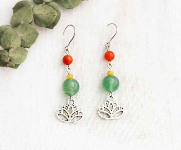 Aretes Flor de Color - Cuarzo Verde