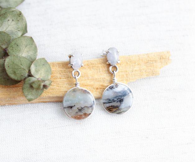 Aretes Dulce Tarde - Ópalo andino - Piedra luna