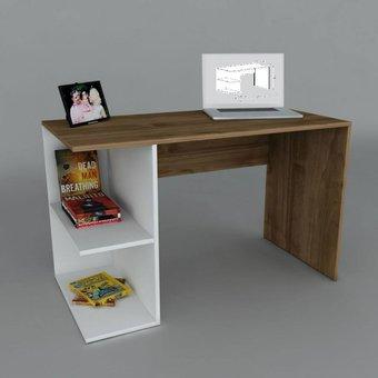 Escritorio Muebles Starhome Con Secciones - Blanco / Roble Rústico