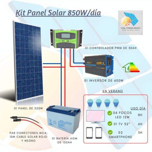 Kit Panel Solar Fotovoltaico 850W/día  c/Controlador PWM