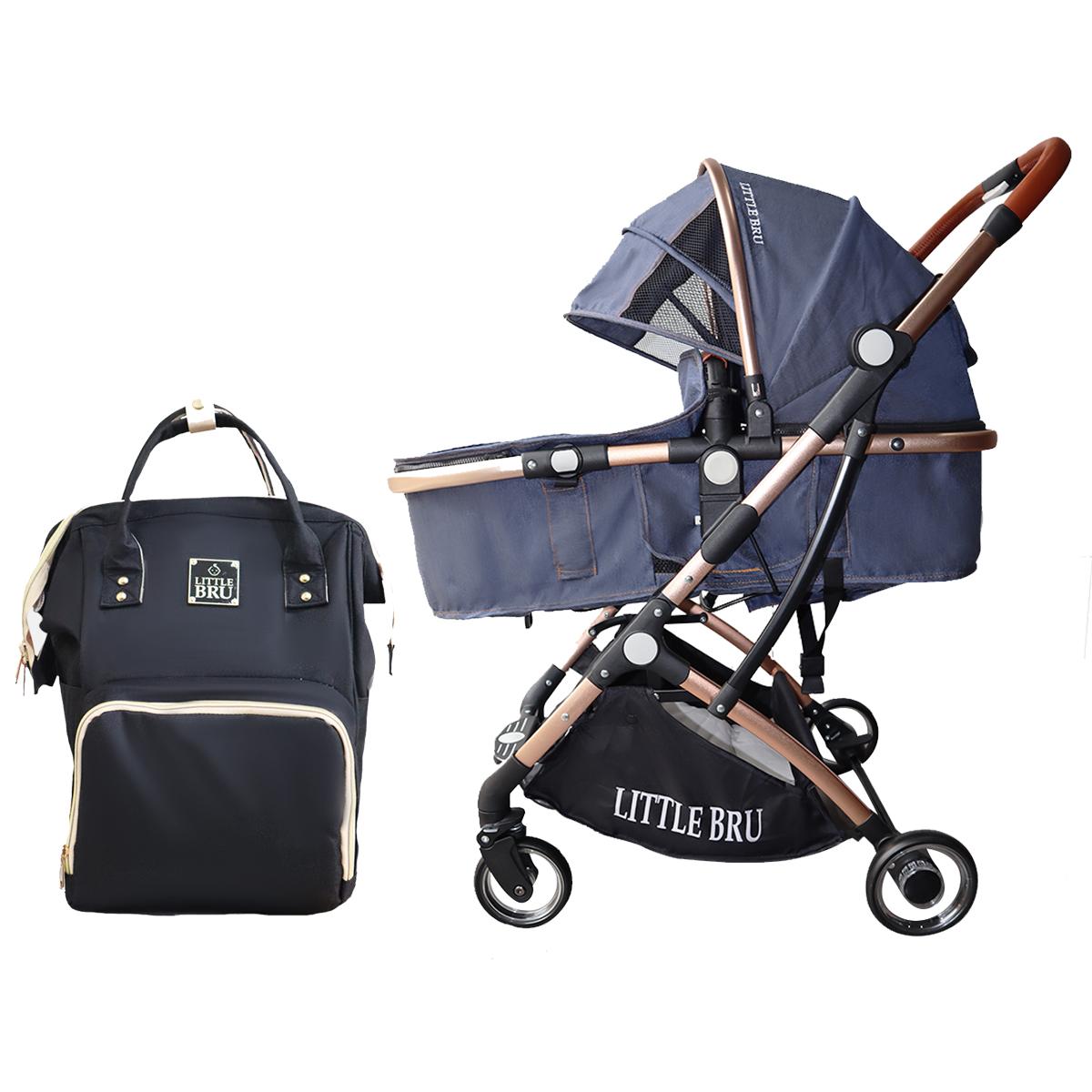 Combo Coche para bebé Modelo Milán Azul Oscuro + Mochila Pañalera  Little Bru