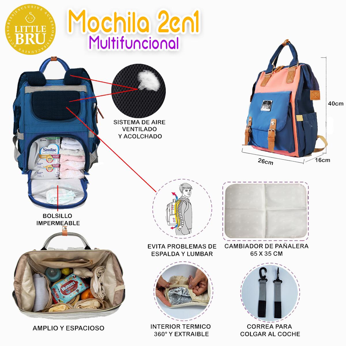 Mochila Pañalera Multifuncional 2 en 1 Color Azul con Coral Marca Little Bru