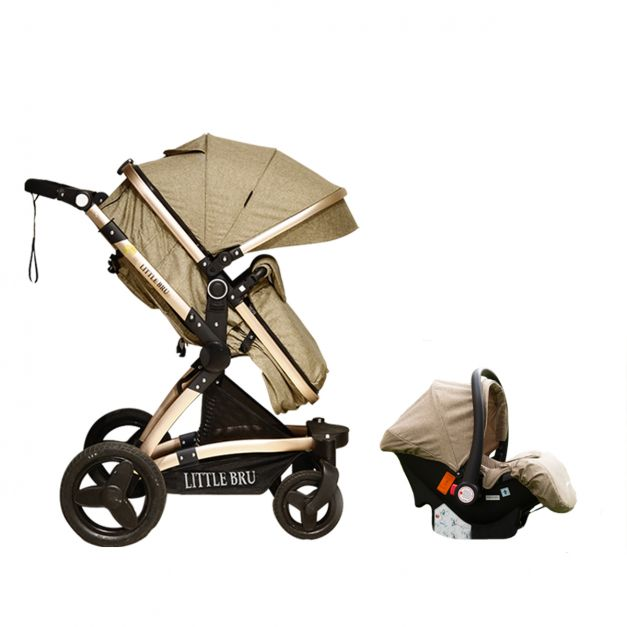 Coche para bebé  Modelo Zaragoza 3 en 1 color caqui