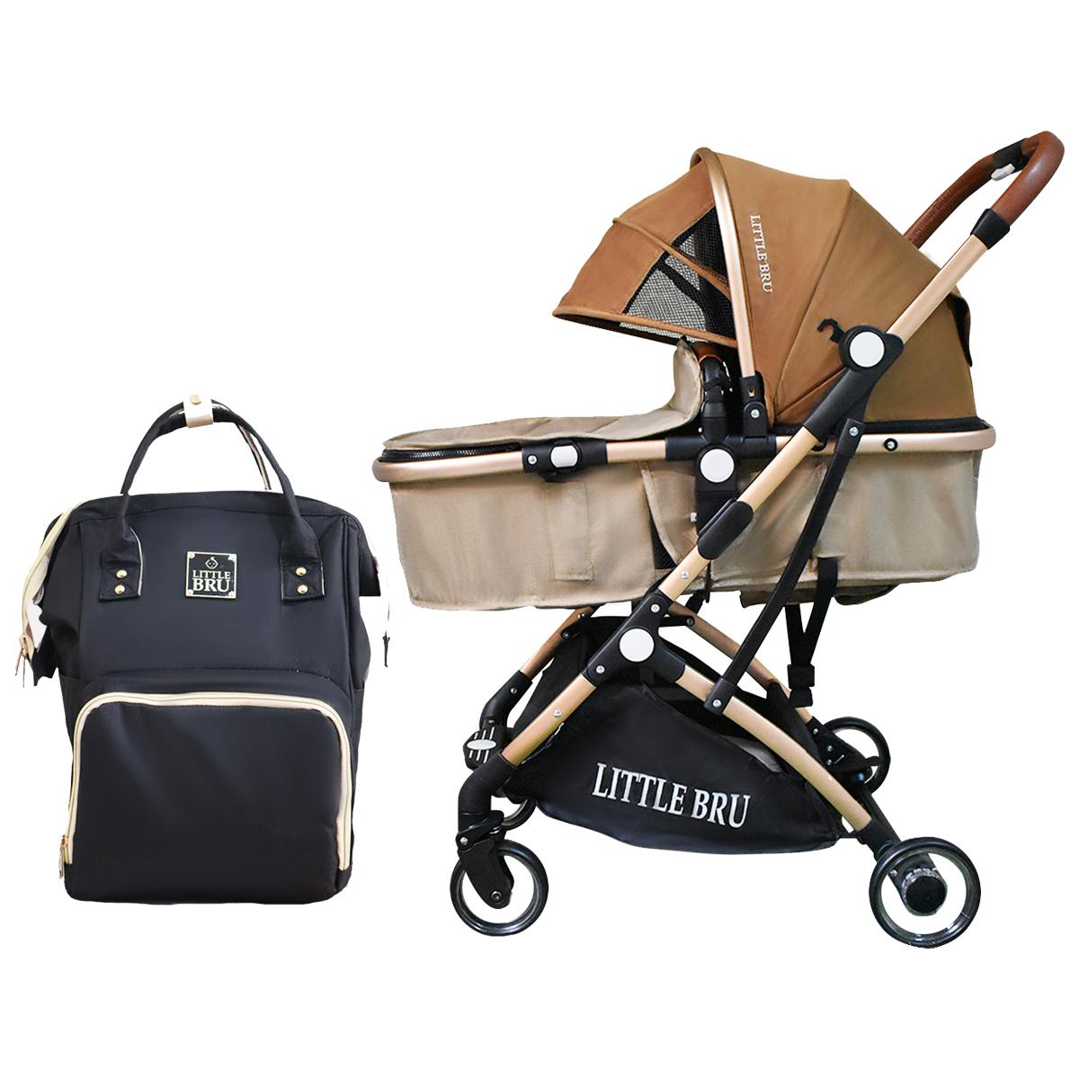 Combo Coche para bebé Modelo Milán Marron / Beige + Mochila Pañalera  Little Bru
