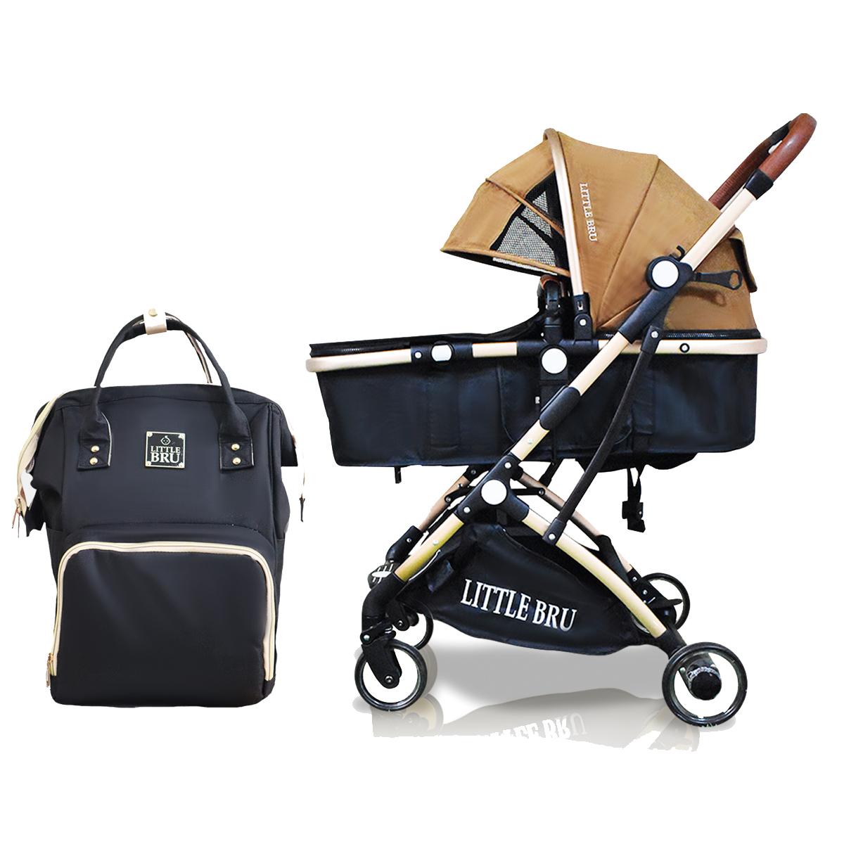 Combo Coche para bebé Modelo Milán Marron / Negro + Mochila Pañalera  Little Bru
