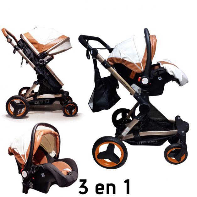 Coche para bebé  Zaragoza 3 en 1 y 2 en 1 Color Blanco con Caramelo