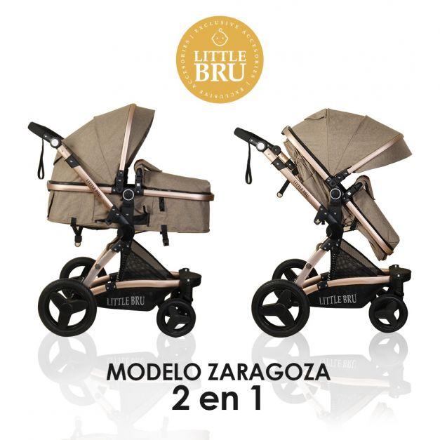 Coche para bebé  Modelo Zaragoza 2 en 1 color caqui