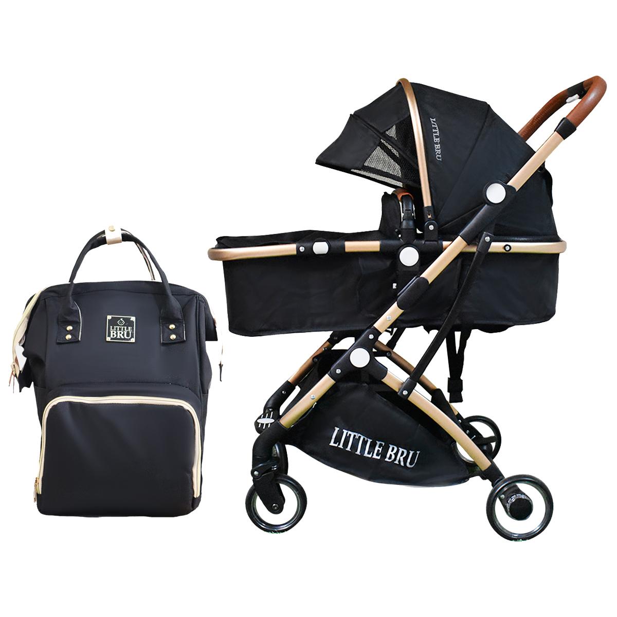 Combo Coche para bebé Modelo Milán Negro + Mochila Pañalera  Little Bru