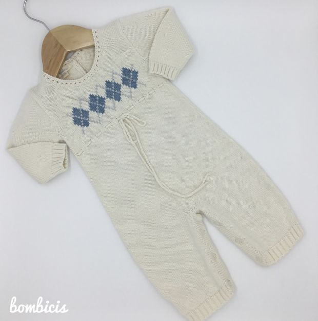 Enterizo JIM crema - Disponible talla 0-3m y 3-6m