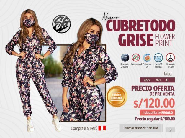 CUBRETODO SG -MOD GRISE - FLOWER PRINT