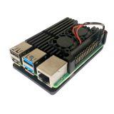 Case negro de aluminio con ventiladores para Raspberry Pi 4B