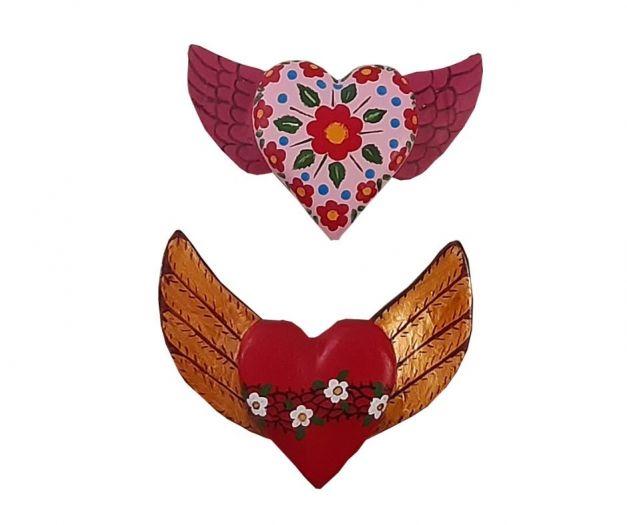 Set de 2 corazones con alas