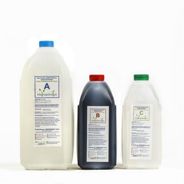 Solución Nutritiva Concentrada A-B-C Hidropónika para Floración Fructificación - rinde 1000 litros