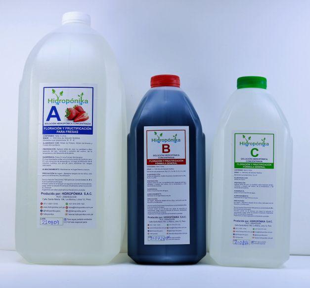 Pack Solución Nutritiva Concentrada A-B-C para Fresas rinde 1000 litros