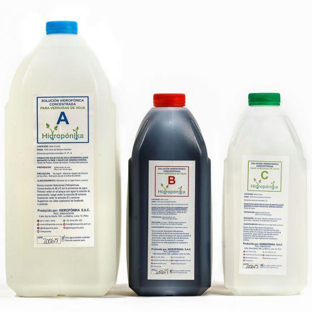 SOLUCION NUTRITIVA CONCENTRADA ABC para 1000 litros (verduras de Hoja)