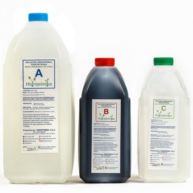 Solución Nutritiva Concentrada A-B-C - verduras de hoja - rinde 1000 litros
