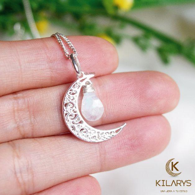 Collar Luna con Piedra Luna natural